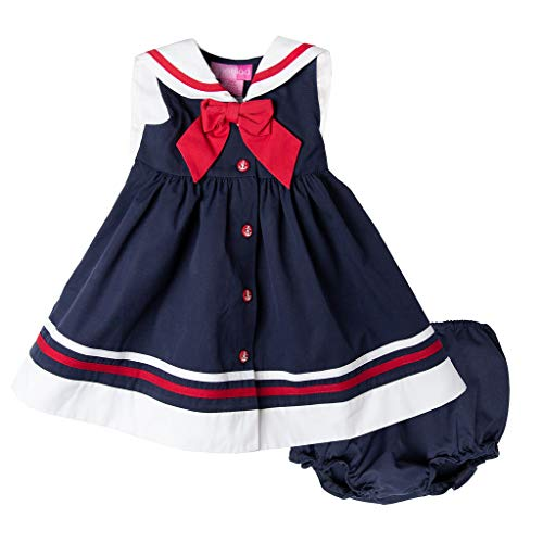 Good Lad Newborn & Infant Girls Navy Nautical Dress with Matching Panty ()
