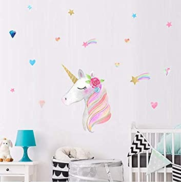 AIYANG Unicorn Wall Decals Stars Love Hearts Wall Stickers for Baby ...