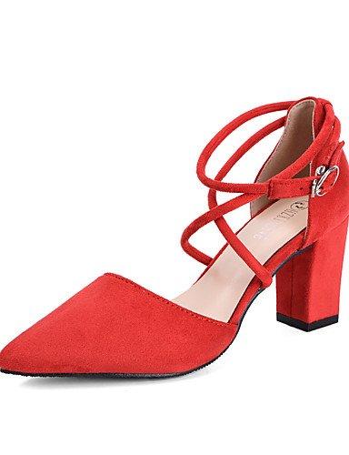 GGX/Damen Schuhe Suede Fall Heels/spitz Zehen/Clogs & Pantoletten Kleid Chunky Heel andere schwarz/pink/rot/grau black-us7.5 / eu38 / uk5.5 / cn38