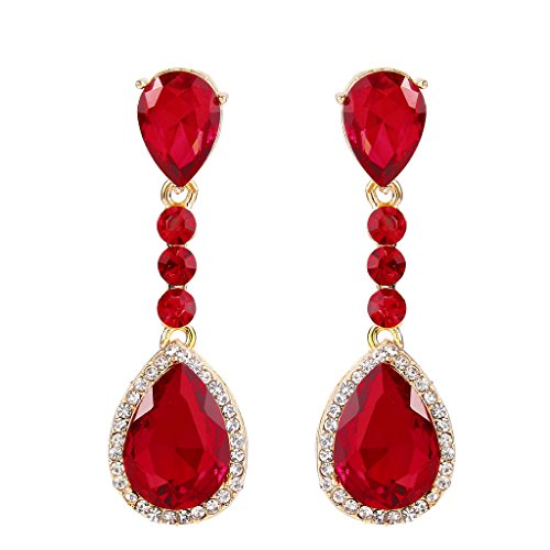 Teen Ruby Red Goddess Costumes (BriLove Women's Wedding Bridal Crystal Teardrop Infinity Figure 8 Chandelier Dangle Clip-On Earrings Gold-Tone Ruby Color)