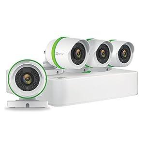 EZVIZ Outdoor 3MP Video Security Surveillance System, 4 Weatherproof HD Cameras, 8 Channel 1TB DVR Storage, 60ft Night Vision, Motion Tracking by EZVIZ