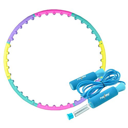 Hula Hoop Weighted 2 lb Magnetic Therapy Massage Weight Loss Fitness Abdominal Exercise + Blue Weighted Jump Rope