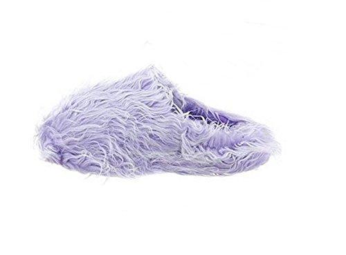 Zapatillas De Casa De Piel Sintética Borrosa Cómodos Para Mujer