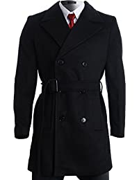 Mens Winter Double Breasted Pea Coat Long Jacket