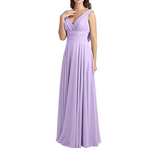 V Flieder Lang A Chiffon Charmant ausschnitt Abendkleider Neu linie Elegant Traube Damen FOrmalkleider Brautjungfernkleider nZqIvO