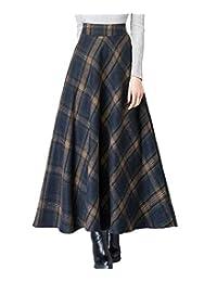 Femirah Women's Retro High Waisted A-Line Big Hem Long Maxi Plaid Wool Skirt