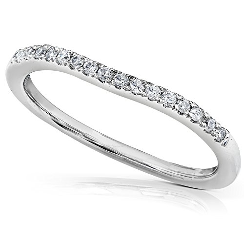 Round Brilliant Diamond Curved Wedding Band 1/10 carat (ctw) in 14K White Gold
