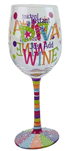 Happy Hour Instant Diva; Just Add Wine Wineglass, - Wine Glass Diva
