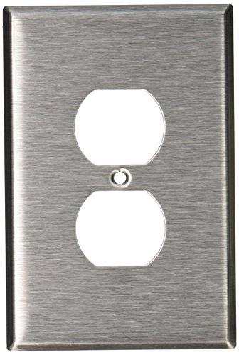 Leviton 84103 1-Gang Duplex Device Receptacle Wallplate, Oversized, Device Mount, Stainless Steel