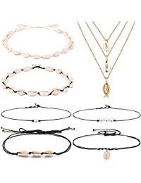 WAINIS 7 Pieces Shell Choker Necklaces for Women Girls Bohemian Freshwater Pearl Chokers Beach Necklaces Jewelry