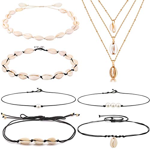 (WAINIS 7 Pieces Shell Choker Necklaces for Women Girls Bohemian Freshwater Pearl Chokers Beach Necklaces Jewelry)