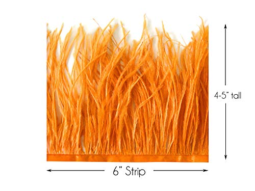 Trim Millinery (6 Inch Strip - Orange Ostrich Fringe Trim Feather Craft Sample DIY Millinery Supply | Moonlight Feather)