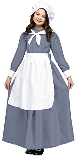 Colonial Girl Costumes For Kids (Colonial Pilgrim Girl Kids Costume,Gray / White,medium)