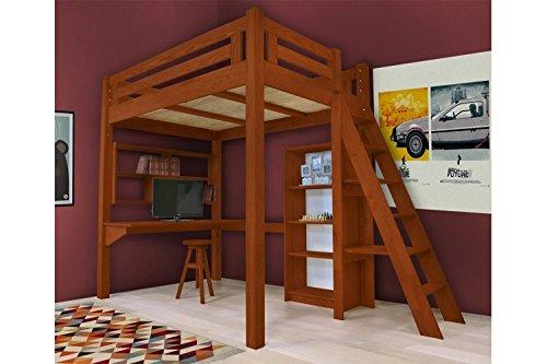 abc meubles hochbett alpage mit treppe alpagech teint merisier 160x200 g nstig kaufen. Black Bedroom Furniture Sets. Home Design Ideas