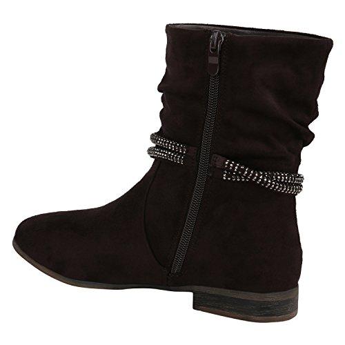 Klassische Damen Stiefeletten Blockabsatz Boots Gefütterte Stiefel Strass Umschlagbarer Schaft Satin Optik Schleifen Flandell Dunkelbraun Strasssteine
