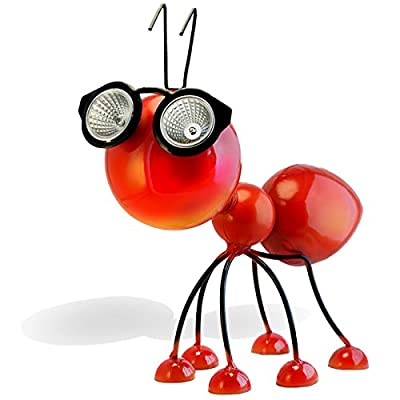 Solar Powered Garden Decoration, Metal Red Ant Statue with LED Lights, Cool Gift Idea for Yard/Backyard/Patio, Highly Durable and Waterproof Outdoor Art Figurine