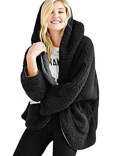 PERSUN Women's Reversible Faux Fur Winter Hooded Cardigan Black Coat Long Sleeve Overcoat