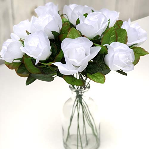 (TheBridesBouquet.com White Roses One Dozen Fake Flowers for Wedding Romance I Love You Silk Artificial Flowers (White))