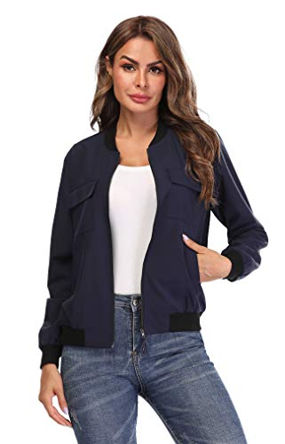 MISS MOLY Women's Bomber Jackets Casual Zipper Lightweight Coat Long Sleeve Bomber Outwear Jacket with Pockets-Navy Blue XL