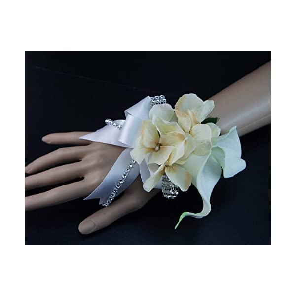 Angel Isabella Wrist Corsage – Double Calla Lily with Hydrangea – Silk Flower