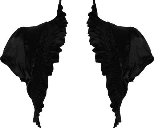 Stretch Satin Bolero Jacket Short Sleeve Cover-up, Medium, Black