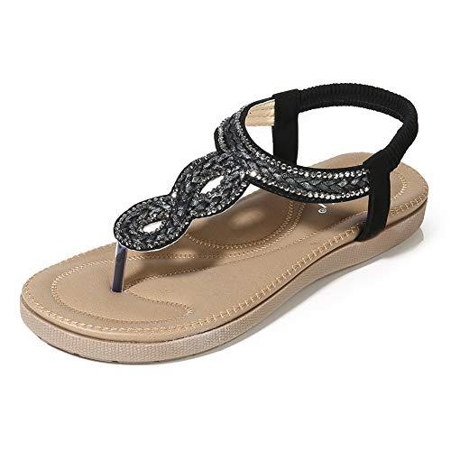 Meeshine Womens Summer Beach Flat Sandals Rhinestone Shiny Beads Slip On Flip Flops Thong Shoes(9 B(M) US,Black -
