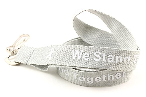 Gray with White Ribbon Awareness Lanyard Buy 1 Give 1 -- 2 Lanyards for only $12.99 -