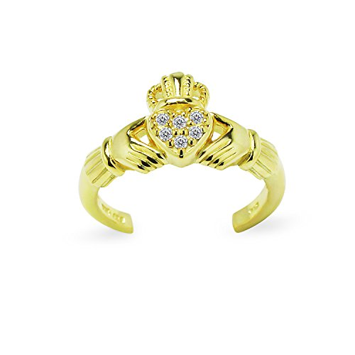(Yellow Gold Flashed Sterling Silver Cubic Zirconia Claddagh Adjustable Toe Ring)