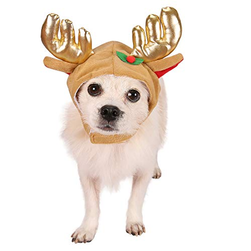 HDE Dog Reindeer Antlers Cap Christmas Holiday Pet Apparel Costume Accessory Brown Cap with Ears Antlers and Holly Leaf for Small and Medium Dogs