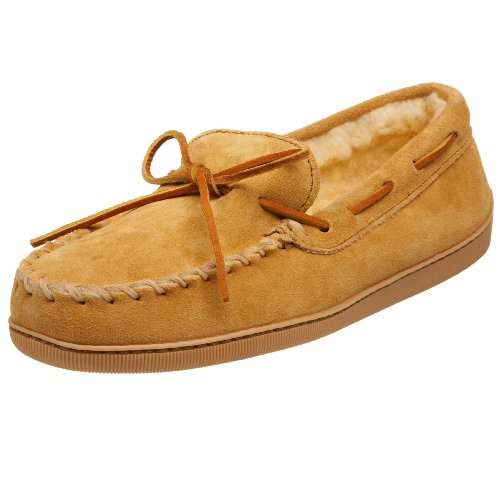 Minnetonka Men's Pile Lined Hardsole, Tan Suede, 9 M