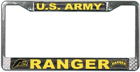(US Army Ranger License Plate Frame (Chrome Metal))