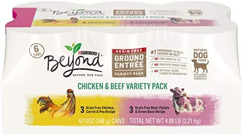 Purina Beyond Grain Free, Natural Pate Wet Dog Food, Chicken Beef Recipe Variety Pack – 2 Packs of 6 13 oz. Trays