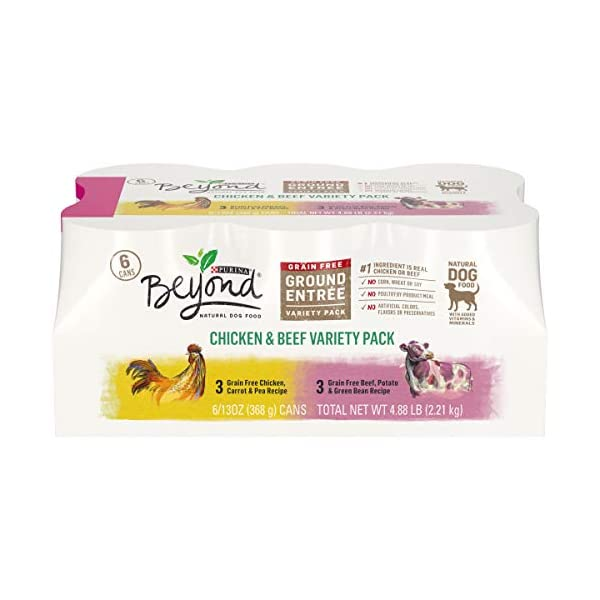 Purina Beyond Grain Free, Natural Pate Wet Dog Food, Chicken & Beef Recipe Variety Pack – (2 Packs of 6) 13 oz. Trays