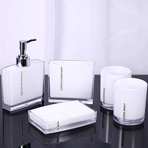 Yosoo 5 Pcs Bathroom Accessory Set Luxury Bath Vanity Set wi