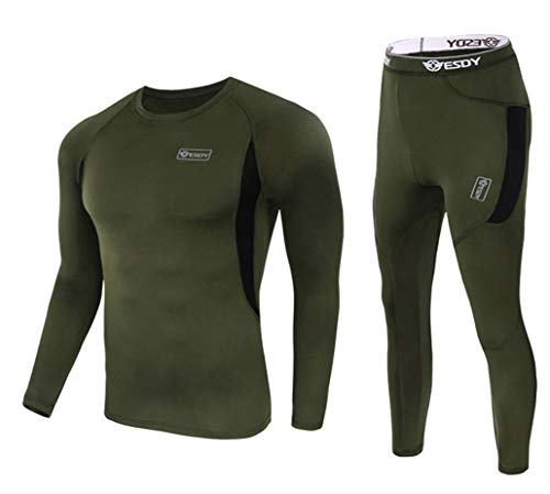(exeke SDY Men's Thermal Underwear Set Fleece Lined Long Johns Athletic Base Layer Top & Bottom 010-Army Green(2XL))
