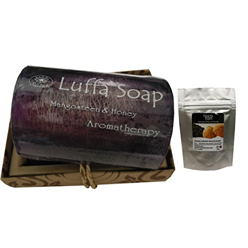 Luffa Soap Scrub Thai Herbal Mangosteen & Honey soap 100g and free coconut powder for tooth whitening 10g