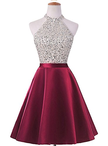 ed Keyhole Back Homecoming Dresses Beaded Prom Gowns Short H198 0 Burgundy ()