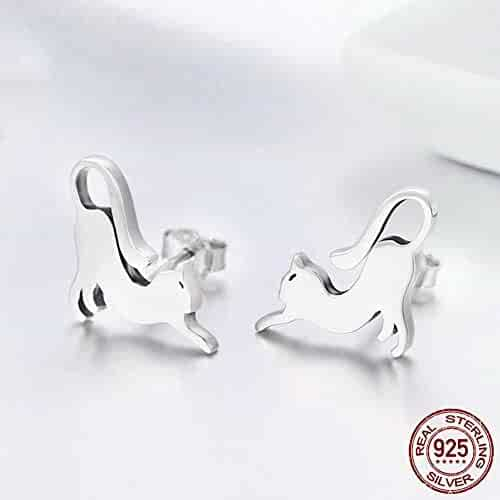 15f0201fc AceFcion 925 Sterling Silver Cat Playful Earring Stud Lovely Personality  Fashion Earrings