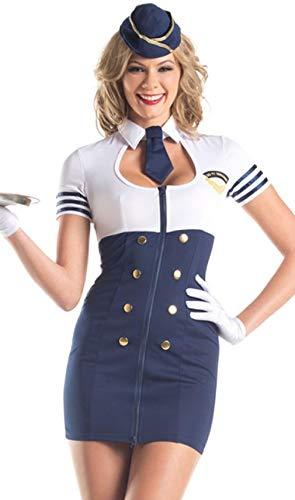 ESSA OAT clothes series Flight Attendant Costume Stewardess Retro Dress Hat Tie Mile High Service]()