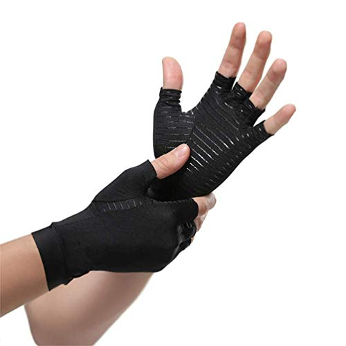 Arthritis Compression Gloves High Copper Infused Gloves for Arthritis for Men and Women, Fingerless Copper Fit Compression Gloves Arthritis Pain Relief Gloves for Tendonitis Muscle Strains Joint