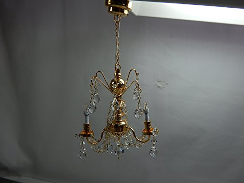 Heidi Ott Dollhouse Miniature Light 1:12 Scale LED Crystal gold 3 Arms Chandelier #YL7602 by Heidi Ott