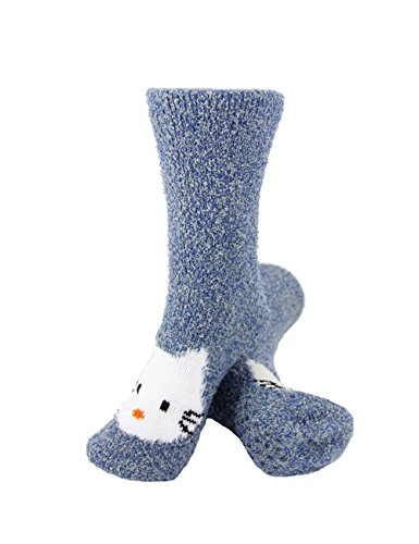 - Super Soft Warm Cute Animal Non-Slip Fuzzy Fluffy Crew Winter Home Socks, Blue Kitty - 3 Pairs