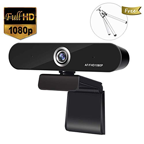 Full 1080P Webcam,  Auto Focus Computer Camera, Face Cam with Dual Microphone for PC, Laptops and Desktop,90 Degree Extended View (Webcam Microphone)