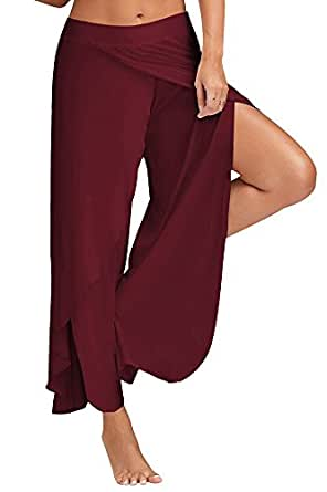 KINDOYO Ladies Plus Size Yoga Pants,High Waist Elasticated Bottoms,Pilates Pants,Harem Hippie Trousers Casual Pants (Crimson,UK 2XL = Tag 3XL)