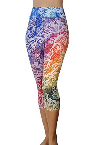 Comfy Yoga Pants - Workout Capris - High Waisted Workout Leggings for Women - Lightweight Printed Yoga Leggings (Yoga Waist Capri Rainbow Lace)