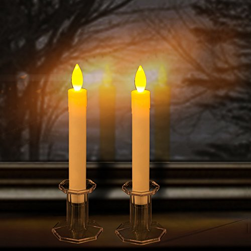battery operated christmas candles for windows flameless set of 9