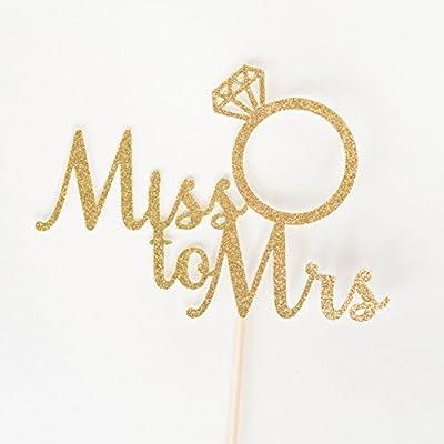 Gold Glitter Miss To Mrs Script Cake Topper, Bridal Shower, Engagement Party, Bachelorette, Stagette, Ring