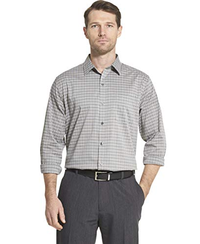(Van Heusen Men's Traveler Stretch Long Sleeve Button Down Black/Khaki/Grey Shirt, Grey Cumulus, XX-Large)