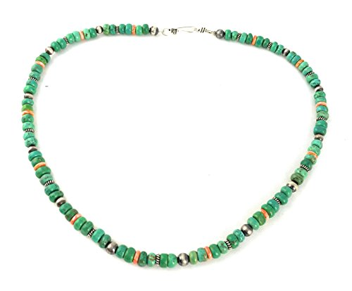 Masha Storewide Sale ! Sterling Silver Necklace By Spiny Oyster, Green Turquoise, Made in USA - Exclusive Southwestern Handmade Jewelry, 18'' in Length Gift by Masha