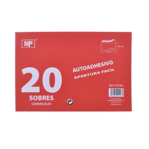 MP PS004 - Pack de 20 sobres, 120 x 176 mm Madrid Papel import Spain